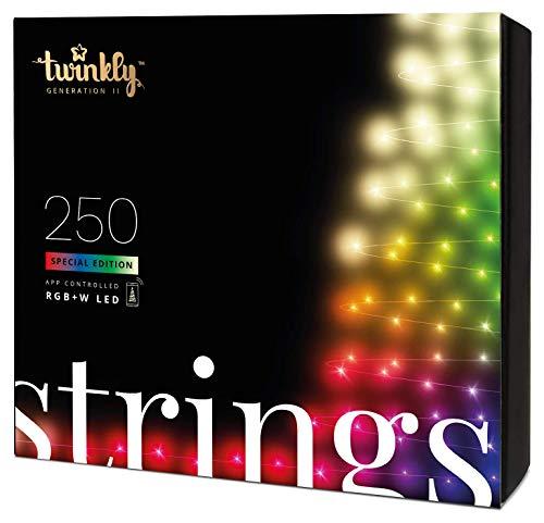 Twinkly - TWS250SPP Special Edition Stringa 250 Luci LED RGB+Bianco - Luci di Natale LED Regolabili da Smartphone - Cavo Nero (20m) - Abilitata IoT & Razer Chroma - Decorazioni per Interni/Esterni