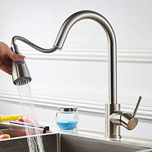 Grifo de cocina extraíble para fregadero de cocina, grifo giratorio de 360 grados, grifo de cocina de agua fría y caliente, todos los accesorios estándar del Reino Unido