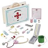 My Play Toy Wooden Doctor Set Juego de Roles para niños Médicos y Enfermeras Kit médico de 17 Piezas Edad 3+