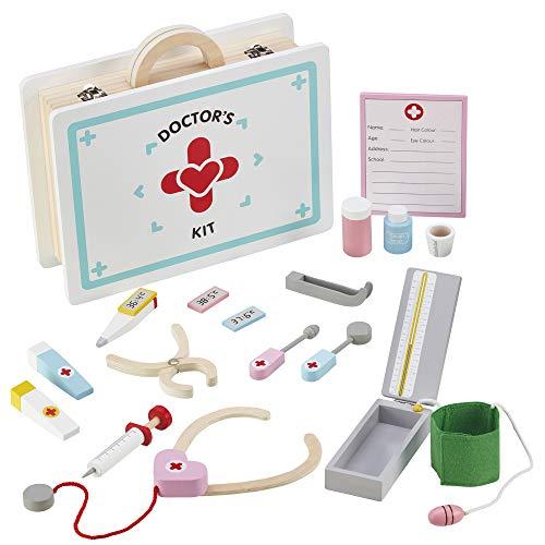 My Play Jeu de médecin en Bois Toy Jeu de rôle pour Enfants Médecins et infirmières Kit médical de 17 pièces à partir de 3 Ans