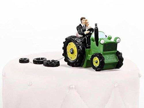 PartyDeco PF34 Tortenaufsatz Brautpaar auf Traktor, mehrfarbig