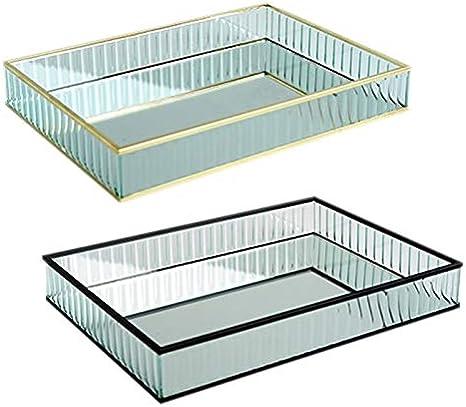 SZVVI Bandeja de espejo de cristal con borde de metal para decorar platos de vino tinto o decoración de tartas y herramientas para decoración