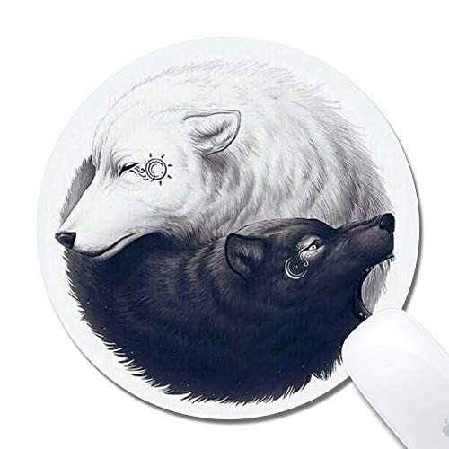 Customized Printed Yin Yang Wolf Mouse Pad Ergonomic Computer Mouse Pad (7.9x7.9x0.1inch) Extended Gaming Mouse Mat with Non-Slip Rubber Base for Desktops Laptop Computer & PC, Home & Office