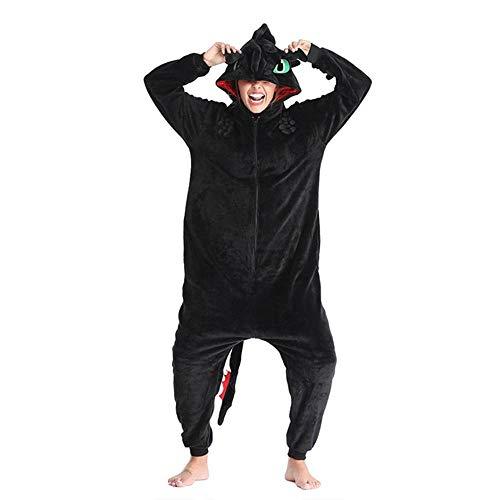 FZH Sleepwear Monokuma Kigurumis Adult Onesie Anime Bear Jumpsuit Pajama Black White Animal Outfit Women Men Party Suit Winter Overall-Toothless Dragon_XL