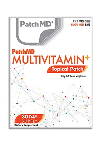 PatchMD Multivitamin Plus 30 Daily Topical Patches. 100% Natural & Vegan. Hypoallergenic & Filler Free. High Absorption More bioavailable. Suitable for Sensitive stomachs & bariatric.
