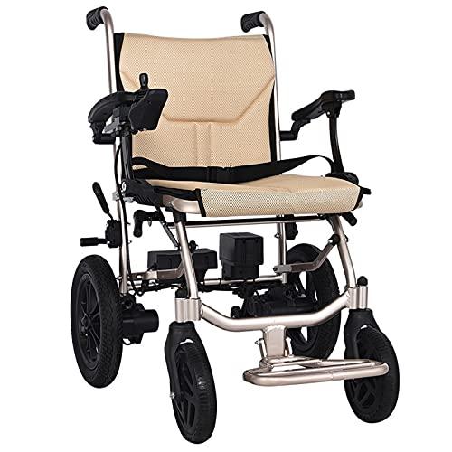 FC-LY Sillas de Ruedas eléctricas para Adultos Motorizado Plegable Ligero de Aluminio de Lujo Luxe Transit 14kg, Adecuado para sillas de Ruedas eléctricas para Personas Mayores, para Viajes aéreos