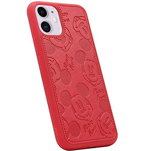 Funda para iPhone 11 Pro Max, linda historieta Mickey Mouse de color sólido de piel sintética de piel sintética de cuerpo completo, funda de TPU suave para iPhone 11 Pro Max 6.5 pulgadas (rojo)