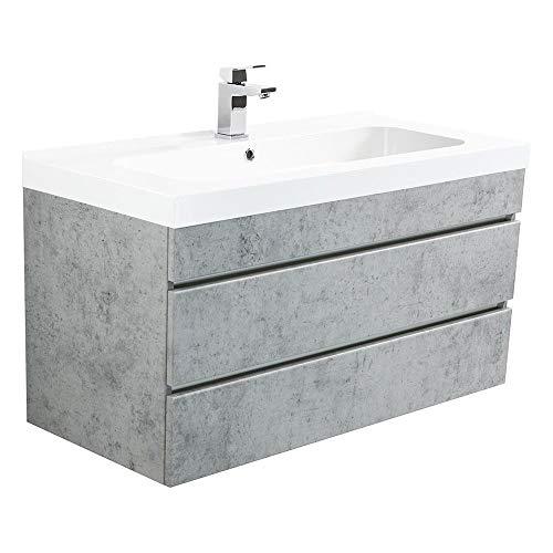 Lomadox Badezimmer Waschtisch Set mit Unterschrank in Beton Optik - 90cm Waschbecken