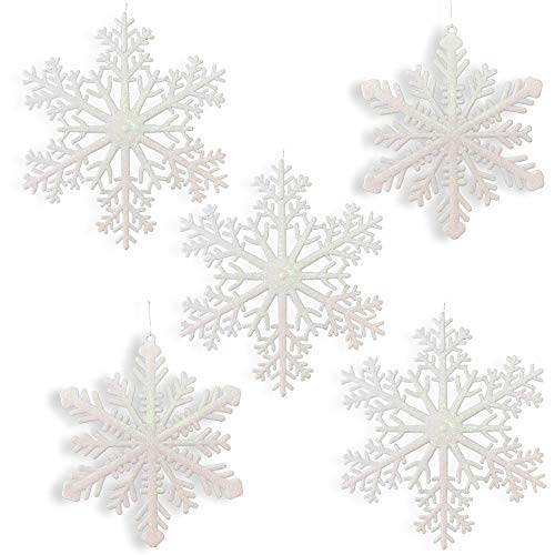Large Snowflakes - Set of 5 White Glittered Snowflakes - Approximately 12' D -Two Asst Designs Snowflake Decorations - Snowflake Window Decor - Winter Decorations