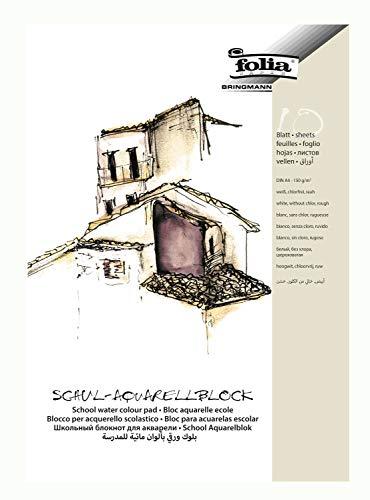 folia 8354 - Schul - Aquarellblock, rau, 150 g/qm, DIN A4, 10 Blatt, 3 fach geleimt, chlorfrei
