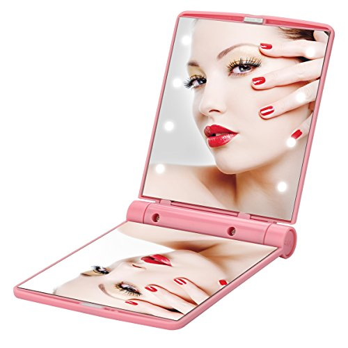 Yusong Makeup Mirror with Lights, 8 Led Lighted Make Up Travel Size Mirrors Compact Portable Folding Handheld Lighting Kits for Teen Girls College Essentials Women Kids (Pink)