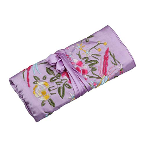 ZJL220 Oriental - Bolsa organizadora de joyas de seda bordada para viajes, adornos de almacenamiento