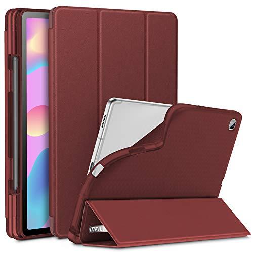 INFILAND Hülle für Galaxy Tab S6 Lite mit S Pen Halter, Superleicht Transluzent TPU Schutzhülle mit Auto Schlaf/Wach Funktion für Samsung Galaxy Tab S6 Lite 10.4 P615/P610,Rotwein