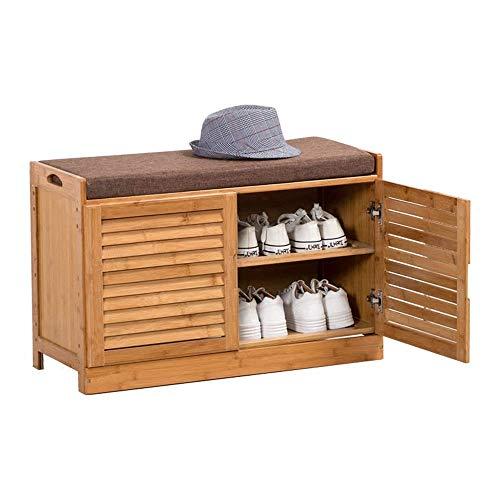 ZAIHW Banco de almacenamiento con 2 cajones y cojín extraíble para asiento, zapatero (tamaño: dos puertas-76 cm)