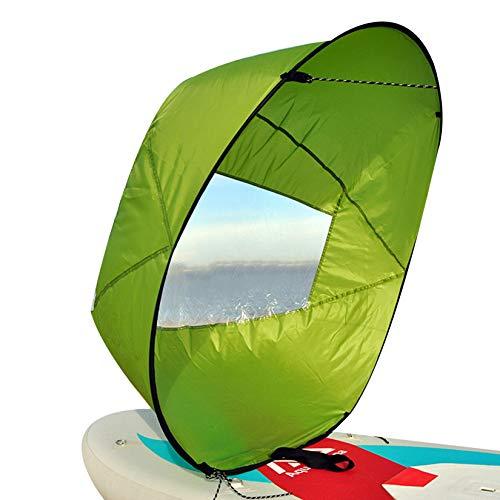 HAN XIU 42 Pulgadas Kayak Canoa Accesorios De Canoa Kayak Sail Paddle Plegable Kayak Sail Downwind Wind Sail Kit para Botes Inflables Canoas De Kayaks,Verde
