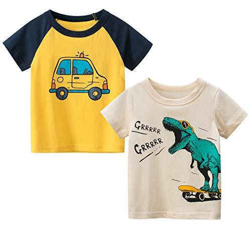 Pack de 2 o 3 camisetas de manga corta para niños pequeños, de algodón, diseño de dinosaurio, camión de bomberos c 12-24 meses