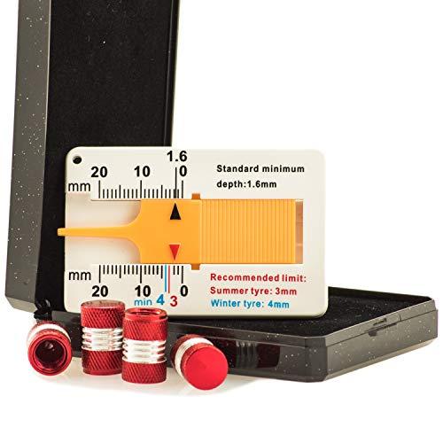 Tapones de válvula de aluminio para neumáticos, accesorios tuning, juego de 4 unidades, medidor de profundidad de perfil (rojo)
