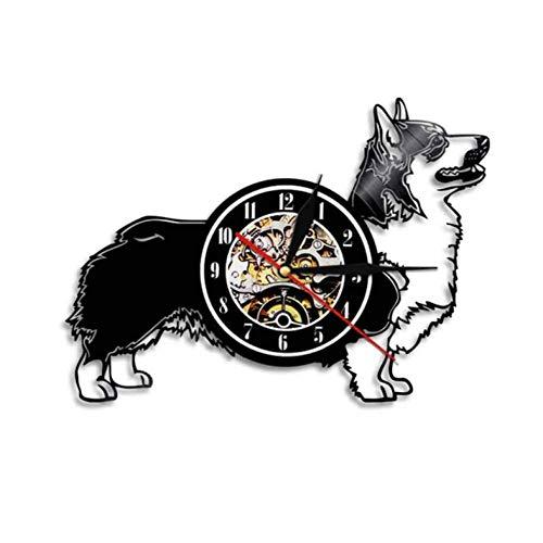 Wanduhr aus Vinyl Strickjacke walisischen Corgi Hund Hunderasse Corgy Vinyl Record Puppy Pet Home Decor Wand Kunst Geschenk für Hundeliebhaber 12 Zoll Xi287