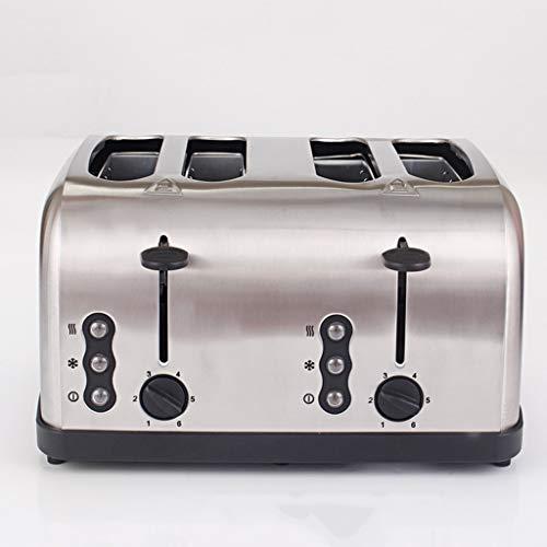 Auto Pop-up de acero inoxidable tostadoras 4 rebanadas extra-ancha ranura del tostador con paneles control dual 6 tostar pan Shade Ajustes de cancelación descongelación función extraíble miga Bandejas