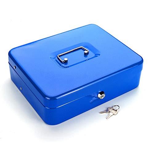 NYSYZSM Cajas de Dinero Caja de Dinero portátil Azul con cajón Caja de Dinero de Metal con Cerradura Coin Cash Hucha Tienda en el hogar Joyas Caja Fuerte 9 * 20 * 25Cm
