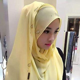 New Fashion Clothing Accessories Fashion Pearl Chiffon Rhinestones Hidden Buckle Female Scarf Hui Nationality Folk Style Hijab Muslim Scarf(Black) (Color : Yellow)