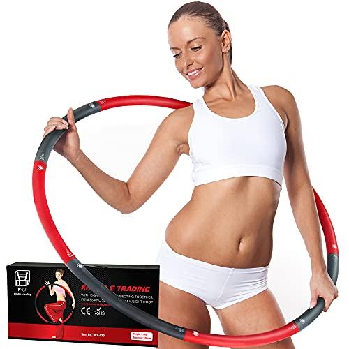 KHATIB E TRADING® 1,4KG Hula Hoop Reifen Erwachsene | aus 8 abnehmbaren Teilen | Gymnastikreifen mit Schaumstoff | Fitness Hula Hoop Reifen für Anfänger & zum Abnehmen