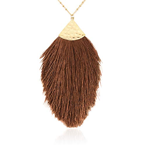 RIAH FASHION Antique Bohemian Silky Thread Fan Tassel Statement Necklace - Vintage Gold Feather Shape Strand Fringe Lightweight Long Chain (Feather Fringe - Taupe)