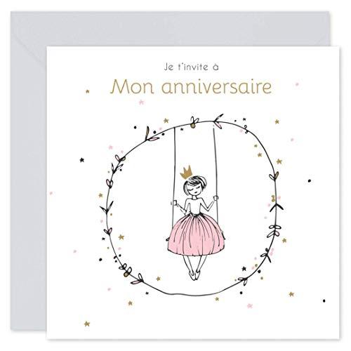popcarte 16 Cartes d'invitation Anniversaire Fille avec 16 Enveloppes • Princesse (Gris Perle)