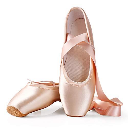 XXXZZL Chausson de Danse Classique Pointe pour la Danse Classique en Rose avec Rubans de Satin et ProtèGe-Orteils pour Ballerines Femme Fille(Prendre Une Taille Au Dessus),Rose,32
