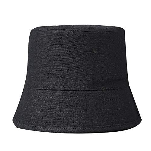 Bucket Hat Chapeau Rétro Imiter Seau Pot De Fleur Plaine Style Pêcheur Casquettes Hommes Femmes Cool Shade Coupe-Vent Panama Rue Seau Chapeaux M (55-58 Cm) Noir