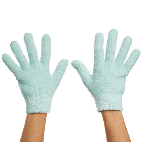 ZenToes Moisturizing Gel Sleeping Gloves Dry Hands Treatment - 1 Pair Unscented Hydrating Cracked Hand Healing Gloves - Repair Rough, Chapped Skin Overnight (Fuzzy Mint Green)