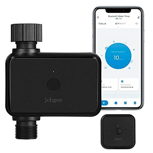 Garten Bewässerungscomputer mit WiFi Hub, Johgee Smart WLAN-Bewässerungsuhr mit Bluetooth und App Steuerung, Automatische/Manuell Wasser Zeitschaltuhr für Garten Rasen