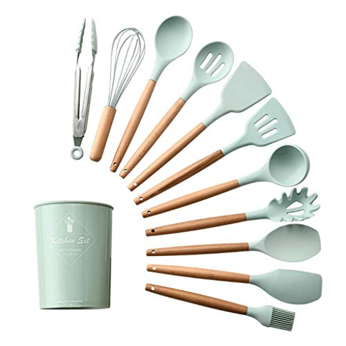 karrychen 11pcs/Set Non-Stick Silicone Kitchen Utensil Spatula Spoon Cooking Tool Cookware - Light Green