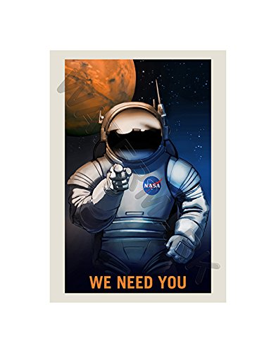 Wee Blue Coo NASA Poster Space Job Advert WE Need You 12x16 '' Framed Art Print F12X11822