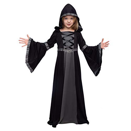 Spooktacular Creations Hooded Robe Costume for Girls Halloween Role-Playing Party (Medium(8-10yr)) Black