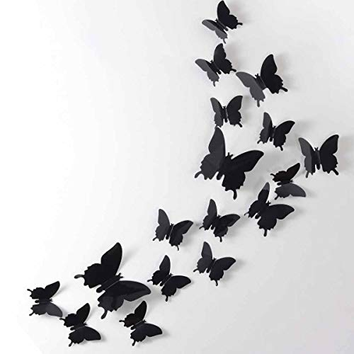 24pcs 3D Butterfly Removable Mural Stickers Wall Stickers Decal for Home and Room Decoration (Black)