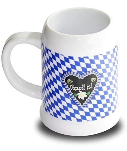 Oktoberfest O'zapft is! Jarra de cerveza, jarra de porcelana, color blanco y azul