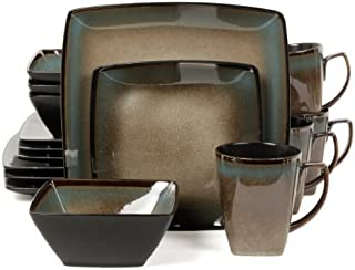Gibson Elite Tequesta 16-Piece Square Dinnerware Set, Taupe by Gibson Elite