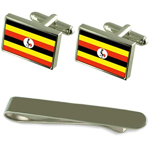 Select Gifts Uganda Fahne Silber Manschettenknöpfe Krawatten Geschenkset mit Gravur
