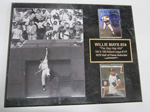 Willie Mays Giants Great Catch 2 Card Collector Plaque w/8x10 Rare Photo #4