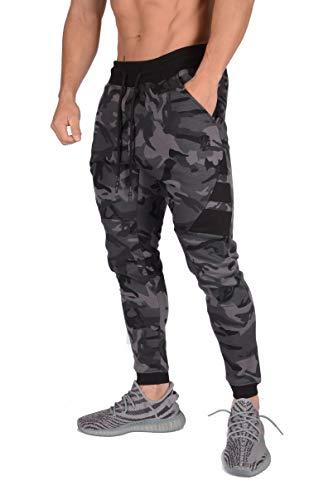 YoungLA Joggers for Men Slim Fit | Soccer Training Pants Sweatpants Gym Sweats 221 Cmbk M Camo Black