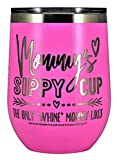 MOMMYS SIPPY CUP WINE GLASS GIFT TUMBLER – Engraved Stainless Steel Stemless Wine Tumbler 12 oz Vacuum Insulated Travel Coffee Mug Hot Cold Drink Mothers Day Christmas Birthday Mom (Pastel - Pink)