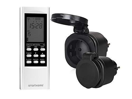 SmartHome Digitales Outdoor Funk Zeitschaltuhr-Set = 2 x Außen-Funk-Steckdose + Timer-Fernbedienung, für Leuchten und Geräte bis max. 3500W