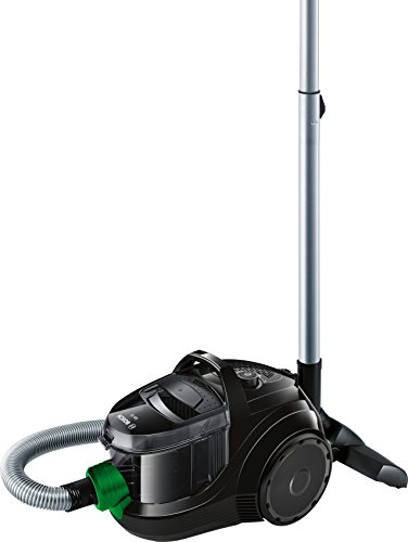 Bosch Hogar BGS1UECO2 GS10 ProEnergy Aspirador sin bolsa, ultracompacto, 550 W, 1.4 litros, negro y verde
