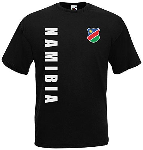 Namibia T-Shirt Trikot Wunschname Wunschnummer (Schwarz, L)