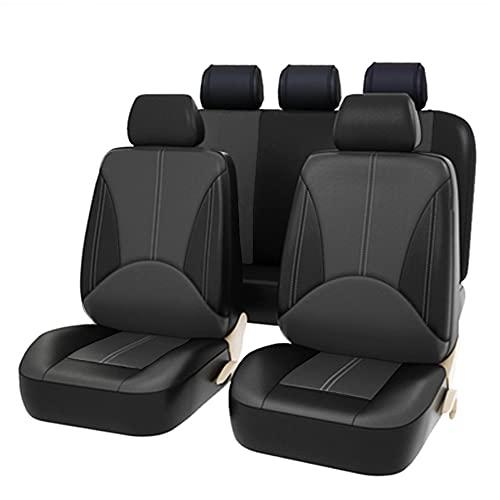 Juego de Fundas universales para Asientos Delanteros y Traseros con airbag, de Piel sintética, 9 Piezas?PU (Gris + Negro)