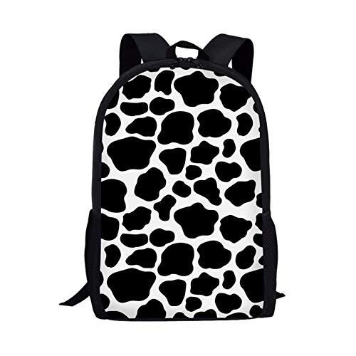 Showudesigns Mochila de la escuela de los niños animales de la impresión lindo con el bolsillo, Vaca Negro (Negro) - Z-5542C012