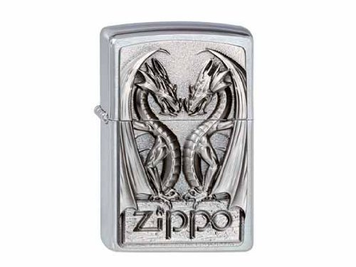 Zippo 200 Twins Dragon Heart Feuerzeug, Messing, Silber, One Size