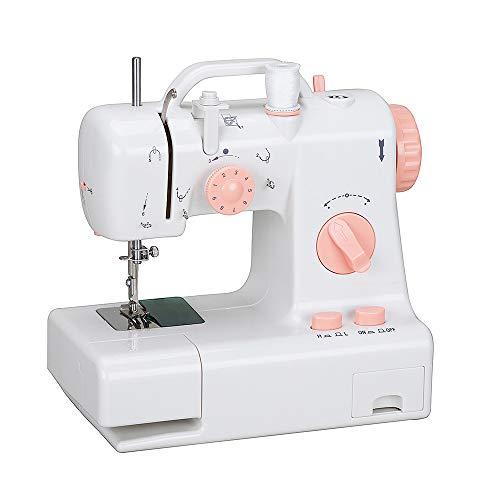 YAOHM Kleine naaimachine voor thuisgebruik, met handgreep voor elektrische naaimachine, semi-automatisch