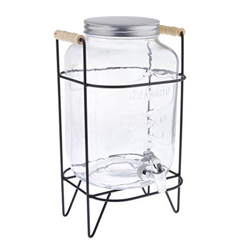 perfk Dispensador de Bebidas con Jarra de Vidrio con Soporte de Metal Y Grifo de Agua Fría - Transparente + Negro, 5000 Ml - tal como se describe, 5000ML